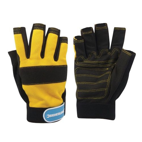 Silverline 633906 Fingerless Mechanics Safety Work Gloves Black/Yellow Medium